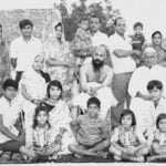 Osho's Family Members- Back Row : From left Shakuntala Jain (wife of Niklank Jain), Niklank Jain, Shashi Kala Khate (wife of Aklank), Aklank Jain (With his Son Aneesh), Vijay Kumar Khate (with his son Ashutosh), Shashi Bala Khate (Wife of Vijay Kumar Khate), Second Row: Saraswati Bai Jain (Mother of Osho), Osho (Rajneesh), Babulal Jain (Father of Osho) Third Row: Shailendra Shekhar, Nisha Khate, Amit Mohan Khate Front Row: Poorva Khate, Maitreya Khate, Pratiksha Khate and Pragya Khate