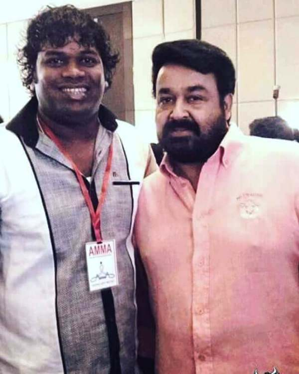 Saju Navodaya with Mohanlal at an Event of AMMA