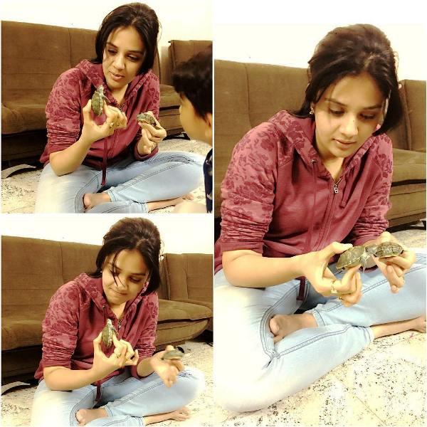 Sreemukhi Playing With Turtles