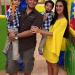 Tara Sharma with husband and children