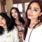 Aishwarya Devan with her mother Sheeja Devan and sister Gouthami Devan
