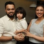 Farhan Azmi with wife and son