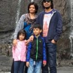 Papon with his wife and children