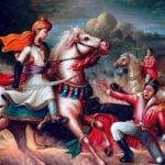 Portrait of Rani Lakshmibai and her Son in the battle field