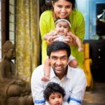 Ravichandran Ashwin with his wife and daughters