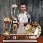 Ricky Ponting With 2007 ICC Cricket World Cup Trophy, 2007 ICC Champions Trophy, Ashes Trophy, ICC ODI Championship Trophy, ICC Test Championship Trophy And Border Gavaskar Trophy