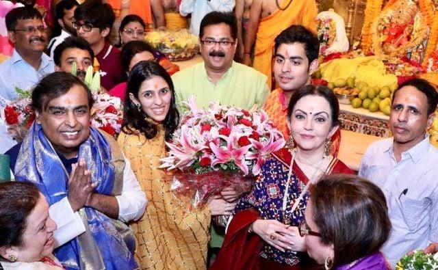 Akash Ambani and Shloka Mehta at the Siddhivinayak Temple in Mumbai, post engagement