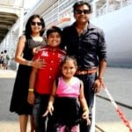 Harris Jayaraj with his wife and children