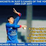 Mujeeb Zadran record of 20 wickets in 2017 ACC Under-19 Asia Cup