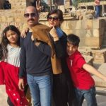 Pallavi Rao with her husband and children