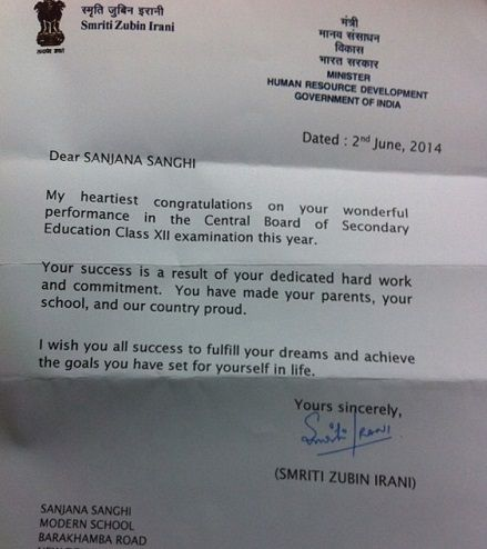 Sanjana Sanghi's Letter of Appreciation from Smriti Irani