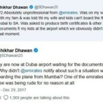Shikhar Dhawan airport controversy