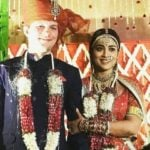 Andrei Koscheev with his wife Shriya Saran