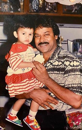 A Childhood Picture of Niharika Konidela With Her Uncle