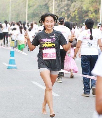 Ankita Konwar at a marathon in Kolkata