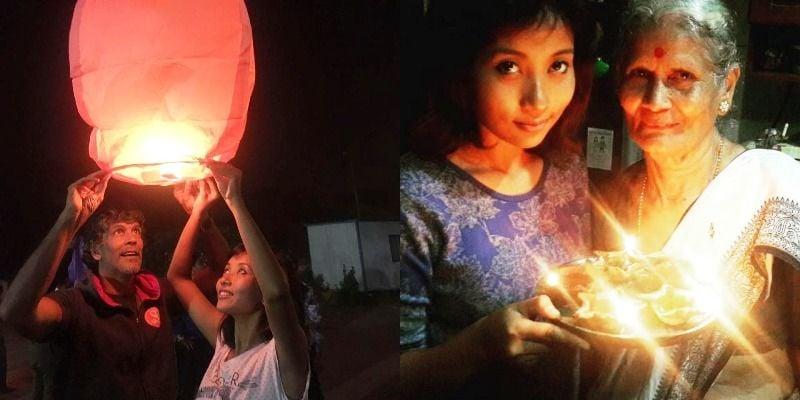 Milind Soman and Ankita Konwar Diwali in 2016