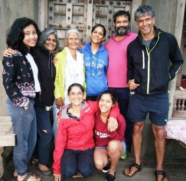 Milind Soman with Ankita Konwar and his family