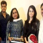 Saumya Sharma with her parents and brother Abhishek Sharma