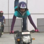 Smita Gondkar Doing Bike Stunt