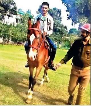 Tej Pratap Singh doing horse-riding