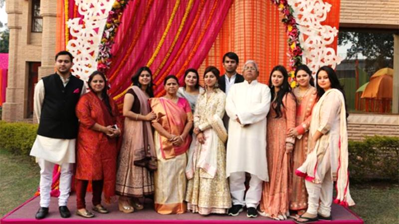 Tej Pratap Yadav with his parents and siblings