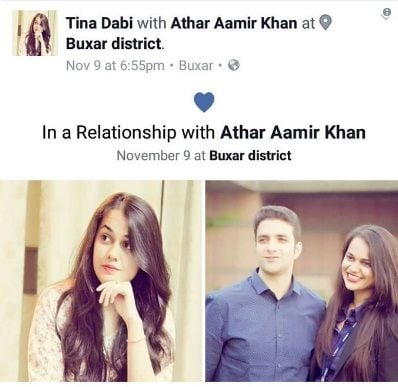 Tina Dabi and Athar Aamir Khan on social media