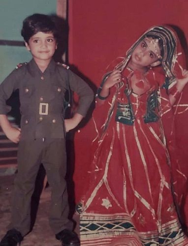 A childhood picture of Adivi Sesh (on left)