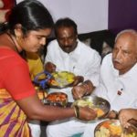 B. S. Yeddyurappa Having Meal At Dalit House