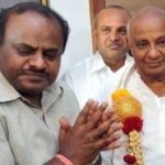 H. D. Kumaraswamy With His Father H. D. Deve Gowda