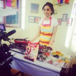 Kshitija Saxena during a shoot for a TV ad