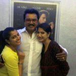 Varalaxmi Sarathkumar with her father Ramanathan Sarathkumar and sister Pooja Sarathkumar