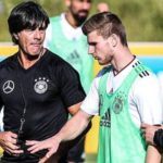 Timo Werner with his Germany Team's Coach Joachim Löw