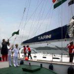 Vartika Joshi Led INSV Tarini Being Flagged Off By India's Defence Minister Nirmala Sitharaman