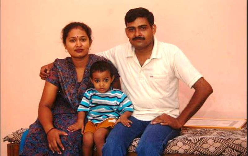 Yogendra Singh Yadav with his wife and elder son