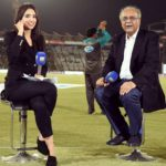 Zainab Abbas With Chairman of Pakistan Cricket Board Najam Sethi