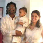 Ajay Gogavale with his wife and son