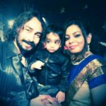 Amit Tiwari with his wife and son