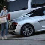 Anne Hathaway getting out of her Audi