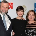 Anne Hathaway with her parents