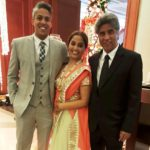 Chaitanya Sharma's father(right), mother (centre), and brother (left)