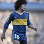 Diego Maradona playing for Boca Juniors