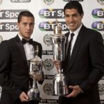 Eden Hazard winning the PFA Young Player of the Year Award posing with the PFA Player of the Year Award winner Luis Suarez