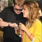 James Corden and Caroline Flack