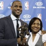 LeBron James with his mother