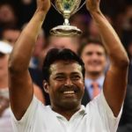 Leander Paes holding Grand Slam Trophy
