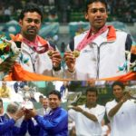Mahesh Bhupathi with Leander Paes holding Grand Slam Trophies
