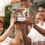 Mahesh Bhupathi with his first Grand Slam with his partner Rika Hiraki