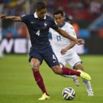Raphael Varane playing for France in the 2014 FIFA World Cup