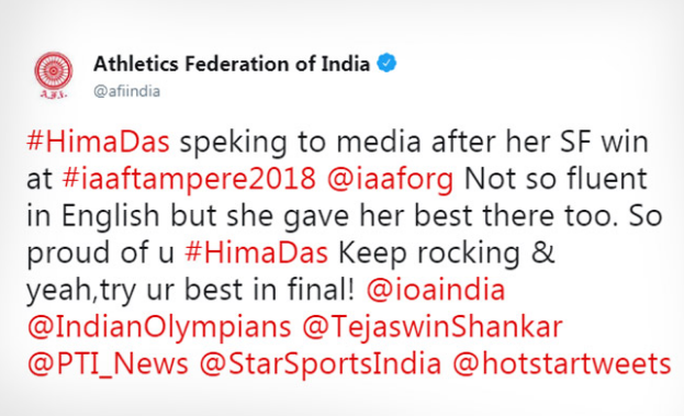 AFI apologized to Hima Das