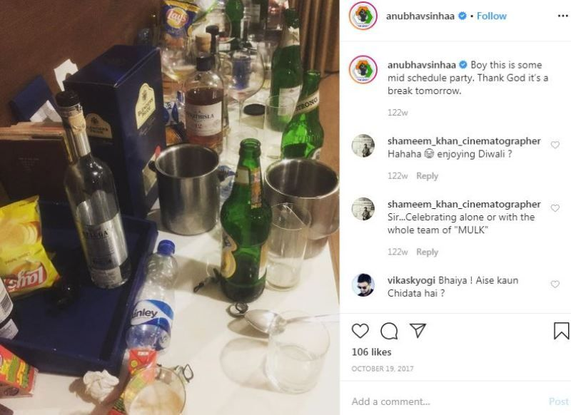 Anubhav Sinha's Instagram post about consuming alcohol